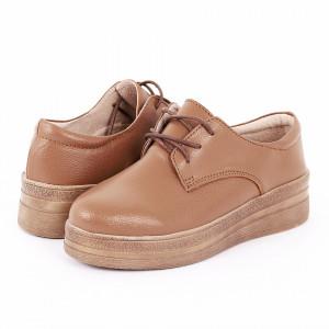 Pantofi din piele naturală cod 1012 Khaki