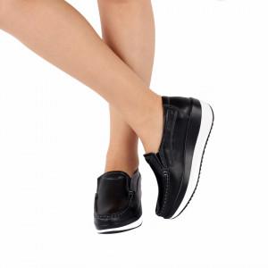 Pantofi din piele naturală cod 1156 Negri - Pantofi pentru dame din piele naturală cu talpă ortopedică flexibilă - Deppo.ro