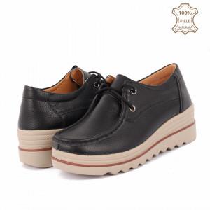 Pantofi din piele naturală cod 3089 Negri
