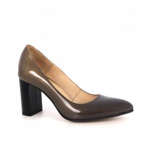 Pantofi din piele naturală cod 61319 Black&Gran