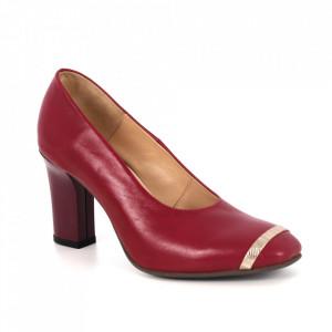Pantofi din piele naturală cod 62717 Bordo