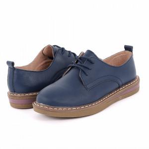 Pantofi din piele naturală cod 6552 Navy - Pantofi pentru dame din piele naturală cu talpă flexibilă - Deppo.ro
