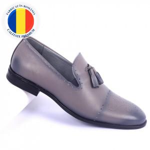 Pantofi din piele naturală cod 940 Grey