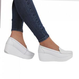 Pantofi din piele naturală cod H1789 White