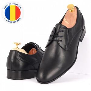 Pantofi din piele naturală Fox Negri