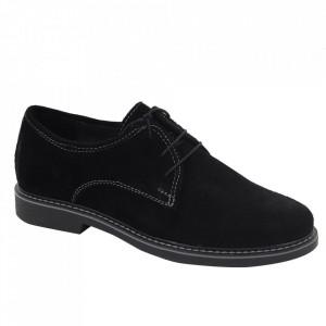 Pantofi din piele naturală întoarsă cod Alex Negru