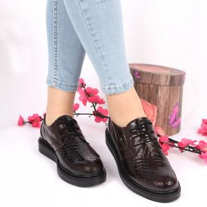 Pantofi din piele naturală maro Cod 2484