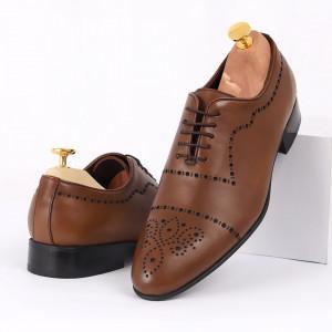 Pantofi din piele naturală maro cod 8663