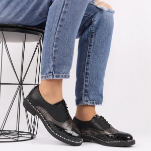 Pantofi din piele naturală neagră Cod 490