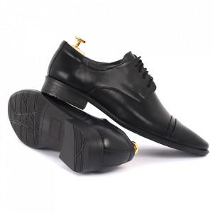 Pantofi din piele naturală negri cod 3244 - Pantofi pentru bărbaţi din piele naturală cu şiret, model simplu, finisaje îngrijite cu un design deosebit - Deppo.ro