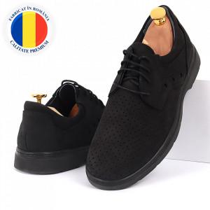 Pantofi din piele naturală negri cod 3288