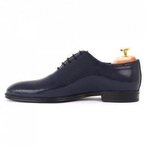 Pantofi din piele naturală pentru bărbați cod 02015 Albaştri - Pantofi din piele naturală lăcuită pentru bărbaţi, model simplu, finisaje îngrijite cu un design deosebit - Deppo.ro