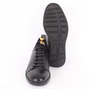 Pantofi din piele naturală pentru bărbați cod 325-1 Negru - Pantofi din piele naturală moale pentru bărbați Model simplu, finisaje îngrijite - Deppo.ro