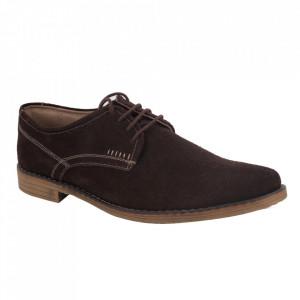 Pantofi din piele naturală pentru bărbați cod 346 Brown