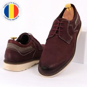 Pantofi din piele naturală pentru bărbați cod 350 Bordo