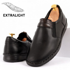 Pantofi din piele naturală pentru bărbați cod 910 Negru