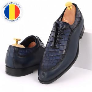 Pantofi din piele naturală pentru bărbați cod 912 Albastri