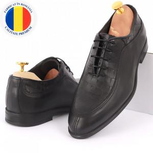 Pantofi din piele naturală pentru bărbați cod 912 Negri