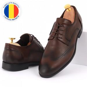 Pantofi din piele naturală pentru bărbați cod 967 Maro Închis
