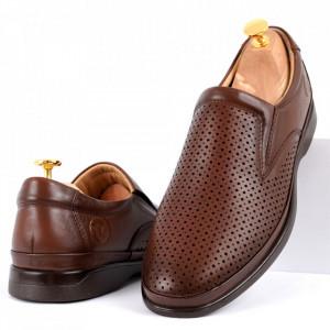 Pantofi din piele naturală pentru bărbați cod C8264 Brown
