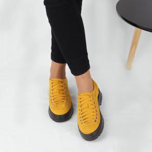 Pantofi pentru dame cod 1466D2 Galbeni - Pantofi pentru dame, din piele ecologica întoarsă cu închidere prin șiret - Deppo.ro