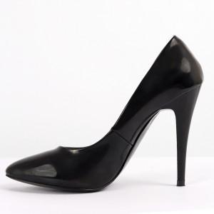 Pantofi pentru dame cod B-010 Black - Pantofi cu toc din piele ecologică lăcuită  Toc subțire  Calapod comod - Deppo.ro