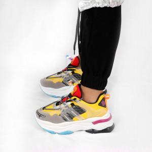 Pantofi Sport cod B53 Galbeni - Pantofi sport colorată pentru dame cu talpă înaltă din spumă foarte comodă și ușoară -piele ecologică cu închidere prin șiret - Deppo.ro