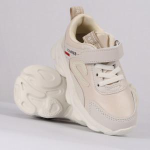 Pantofi sport cod G19B Bej - Pantofi sport din piele ecologică și material textil cu talpă din spumă și închidere cu scai - Deppo.ro