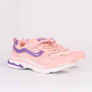 Pantofi sport cod MO835 Roz - Pantofi sport din piele ecologică și material textil cu talpă din spumă și închidere cu scai - Deppo.ro
