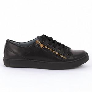 Pantofi sport din piele naturală negri Cod 1259