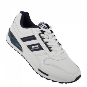 Pantofi sport din piele naturală pentru bărbați cod 15521-1 White/Deep Blue