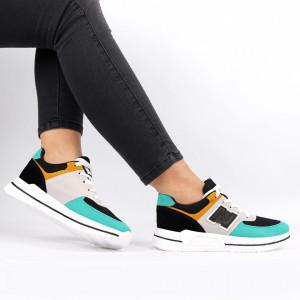 Pantofi Sport pentru dame Cod ABC-331 Green - Pantofi sport pentru dame dinpanză,talpă din spumă  Foarte ușori și comozi  Închidere prin șiret. - Deppo.ro