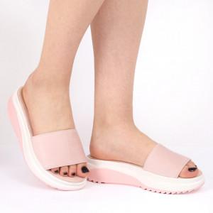 Papuci pentru dame din piele ecologică cod LTS0273 Pink