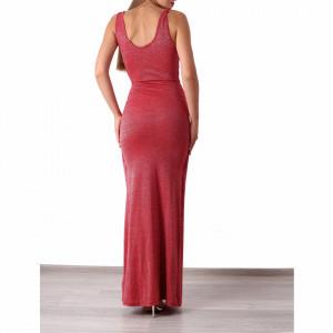 Rochie Aracely Roșie - Rochielungă de ocazie cu sclipici, crăpată pe picior, buretată la bust, material elastic. Potrivită pentru ocazii speciale. Fii mereu în ton cu moda! - Deppo.ro
