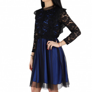 Rochie Lana Blue - Rochie elegantă cu material dantelat, pune-ți silueta în evidență și atrage toate privirile - Deppo.ro