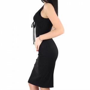 Rochie Lorin Black - Rochie elegantă stralucitoare, pune-ți silueta în evidență și atrage toate privirile, rochie conică, din material elastic cu fir lurex, decolteul generos și spatele gol, fronseul din talie îți pune în valoare formele, iar aspectul asimetric petrecut de la baza rochiei aduce un aer inedit tinutei. - Deppo.ro