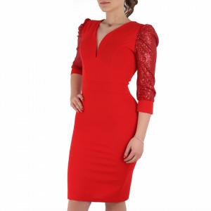 Rochie Willow Red - Rochie elegantă pe corp cu mâneci lungi cu paiete - Deppo.ro
