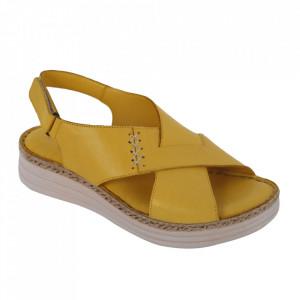Sandale din piele naturală cod 102 Yellow