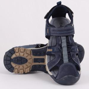 Sandale pentru băieți cod R08 Navy - Sandale pentru băieți cu talpă din piele naturală - Deppo.ro