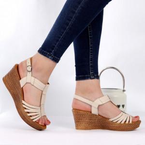 Sandale pentru dame din piele naturală cod 164816 Bej