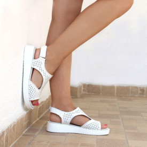 Sandale pentru dame din piele naturală cod PL-2018 White