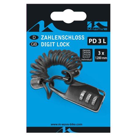 """Lacat cu cablu """" PD 3 L """" M-WAVE 3 x 1200 mm"""