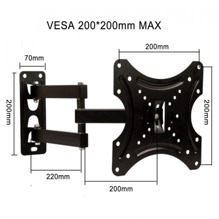 Suport monitor cu brat flexibil, Stativ TV pivotant, Ecran Standard Vesa 200mm