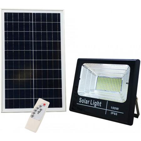 Proiector 100W LED + Panou solar, Telecomanda, Acumulator integrat