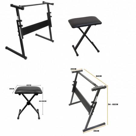 Suport Z Orga + Scaun pian, Inaltime reglabila, Stativ Metalic Pliabil Universal