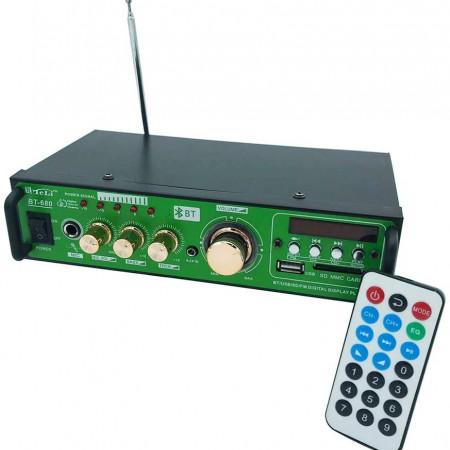 Amplificator Boxe cu Bluetooth, Statie karaoke cu USB, Radio, Mufa microfon profesional, Display