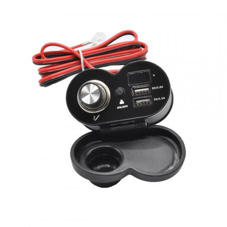 Alimentator moto 12V-5V cu priza bricheta, 2 prize USB (1,5A si 3A, voltmetru si buton on-off, cu prindere pe ghidon sau la oglinda