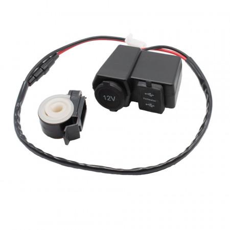 Alimentator moto 12V-5V cu priza bricheta, 2 prize USB, voltmetru si buton on-off