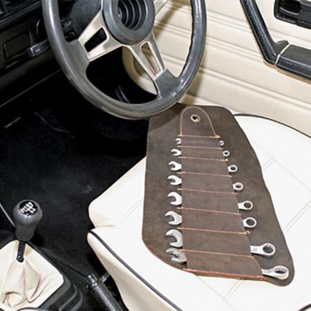 Set 8 chei fixe Gunson in husa de piele vintage pentru masini clasice