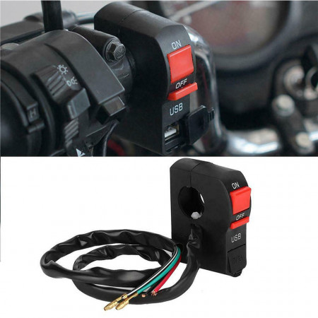 Intrerupator cu buton on-off moto tip Kill Switch cu priza USB